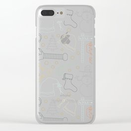 Christmas Doodles (Grey, Blue and Gold) Clear iPhone Case