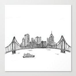 Ink Sketch Pittsburgh Skyline Canvas Print