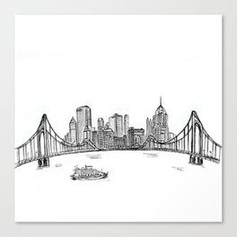 Ink Sketch Pittsburgh Skyline Canvas Print