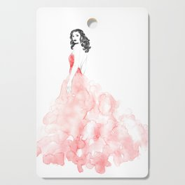 Fashion illustration pink long gown Cutting Board