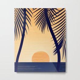 Retro Golden Sunset - Tropical Scene Metal Print