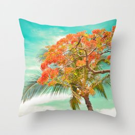 Summery Trees in Hawaii Throw Pillow