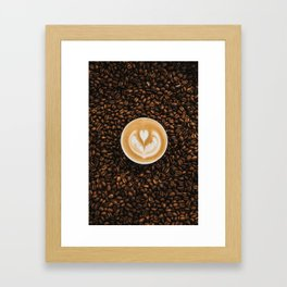 Coffee Beans & Coffee Cup Framed Art Print