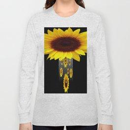 FANCIFUL YELLOW SUNFLOWERS BLACK ART Long Sleeve T-shirt