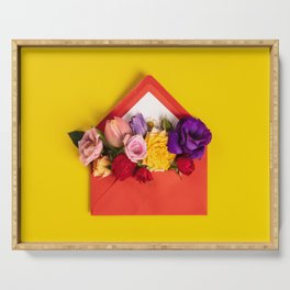 Opened red envelope with flowers arrangements on yellow background Serving Tray