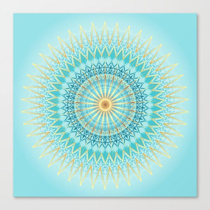 Turquoise Gold Boho Mandala Canvas Print