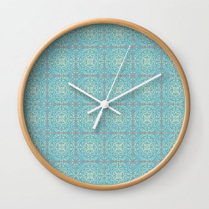 Vintage Fleur De Lis Tile In Old World Pattern Wall Clock