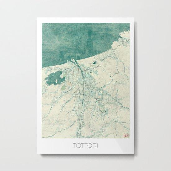 Tottori Map Blue Vintage Metal Print