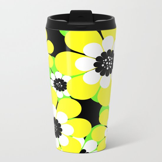 Yellow green bright floral pattern . Metal Travel Mug