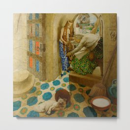 Sleeping Beauty The Princess Pricks her Finger on a Spinning Wheel Fairy Tale portrait by Leon Bakst Metal Print