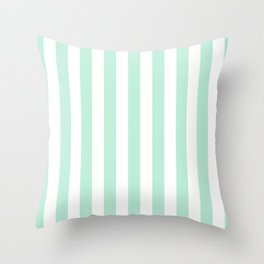 Mint green and White stripes-vertical Throw Pillow