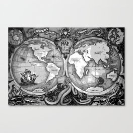 Release the Kraken in Black and White Canvas Print