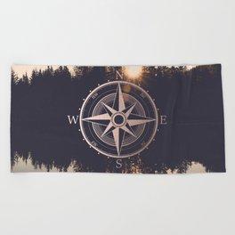 Rose Gold Compass Forest Beach Towel