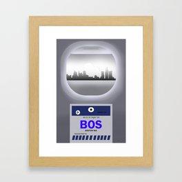 Logan - BOS - Airport Code & Skyline Framed Art Print