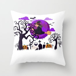 Witch and Friends Halloween Night Throw Pillow
