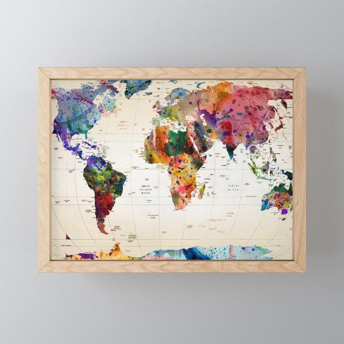 map Framed Mini Art Print