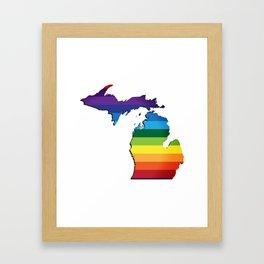 Michigan LGBT Rainbow Flag Gay Pride Framed Art Print