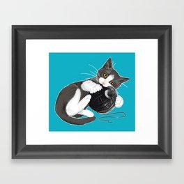Death Star Kitty Cat Framed Art Print
