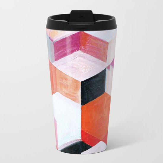 White Paint and Some Colors Metal Travel Mug