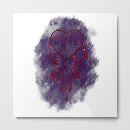 Heart Dreamcatcher: Purple background Metal Print