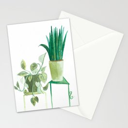 watercolor potted plants // macrame bohemian green house plant garden terrarium Stationery Cards