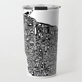 Typographic Wisconsin Travel Mug