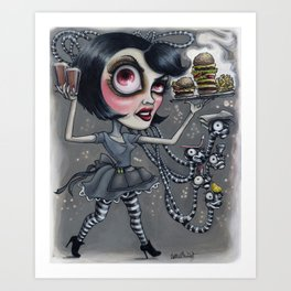 Victoria always approaches the table fully equipped... Art Print
