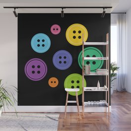 Colorful Rainbow Buttons Wall Mural