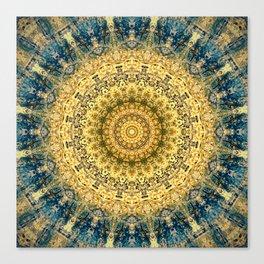 Antique Gold Blue Mandala Design Canvas Print