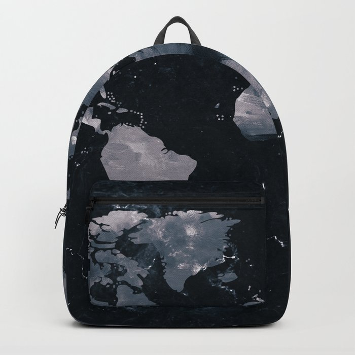 Dark Indigo Ink Marble World Map Rucksack