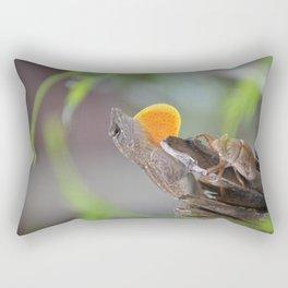 Cuban Anole with Cicada Rectangular Pillow