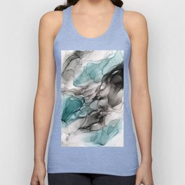Smoky Grays and Green Abstract Flow Unisex Tank Top