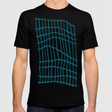 Net Blue on White Mens Fitted Tee Black MEDIUM