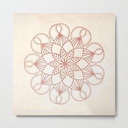 Mandala Blooming Rose Gold on Cream Metal Print