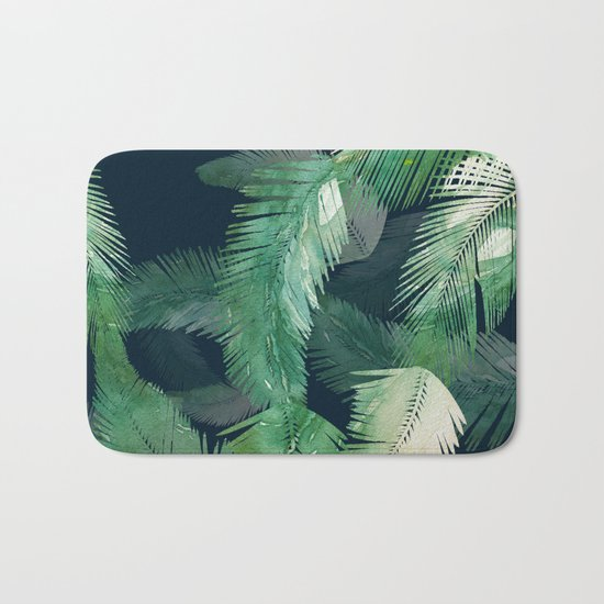 Tropical Leaves at Night Bath Mat