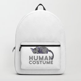 This Is My Human Costume I'm Really A Tabby Cat Funny Halloween Backpack