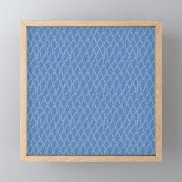 Fishing Net Grey on Blue Framed Mini Art Print