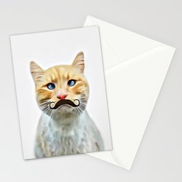 chat avec une moustache (Cat with a mustache in French) Stationery Cards