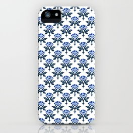 Ajrak Woodblock Floral Print in Blue iPhone Case