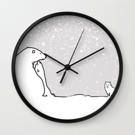 Art print: The polar bear family and the arctic fox Wall Clock