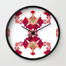 EVA - Pearl and Maude | Diamond Pattern in Magenta White Golden Color (large) Wall Clock