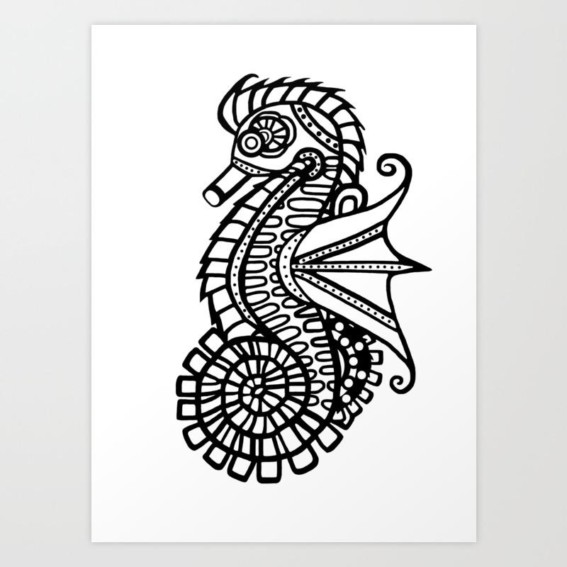 Steampunk Seahorse Stencil Art Print By Blakcirclegirl Society6