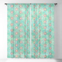 Watercolor Starfish Mandalas Pattern Sheer Curtain