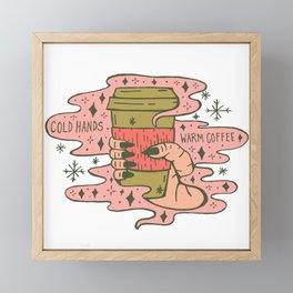 Warm Coffee, Cold Hands in Coral Framed Mini Art Print