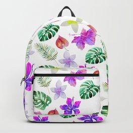 Pink violet green watercolor hand painted hibiscus floral Backpack