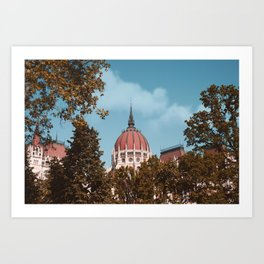 Budapest parliament hungary vintage poster Art Print