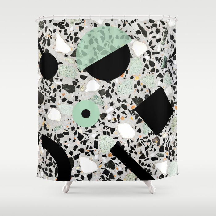 Terrazzo Design Memphis Style Green and Black Shower Curtain