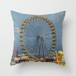 Ferris Wheel at Chicago World's Fair, 1893 Color Print Throw Pillow