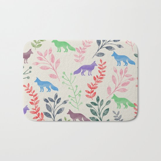 Watercolor Floral & Fox III Bath Mat