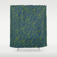 climbing Shower Curtains featuring Climbing leaves by Louisa Heseltine